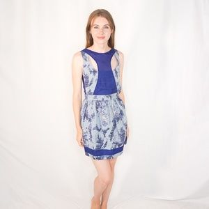 MACKAGE Sleeveless Mini Sheath Dress Blue Silk